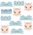 cat and monsters clouds seamless patternit is vector image