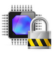 chip and padlock on white background vector image vector image