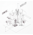 City Construction Sketch Isometric vector image