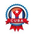 Cuba flag button badge vector image