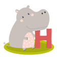 cute animal alphabet with hippo vector image vector image