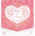 Cute design for greeting card with heart and roses