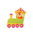 cute little fox traveling by train cartoon animal