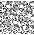 Doodle halloween seamless pattern Coloring for vector image