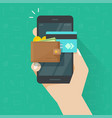 electronic wallet on cellphone icon flat vector image vector image