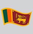 flag of sri lanka waving on gray background vector image