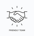 friendly team flat line icon outline vector image