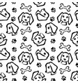funny dog seamless pattern in brush outline style vector image vector image