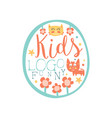 funny kids logo original design baby shop label vector image