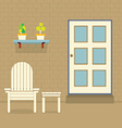 Garden Chair And Table With Pot Plants On Brick vector image