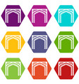 gate icons set 9 vector image vector image