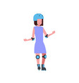 girl helmet roller skating over white background vector image