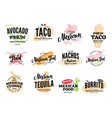 hand drawn mexican food logos vector image vector image