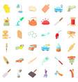 handicraft icons set cartoon style vector image vector image