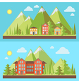 Mountain resorts landscapes vector image