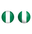 nigeria flag under 3d dome button and on glossy vector image vector image