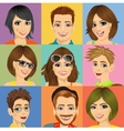 nine diverse young people face portraits vector image vector image