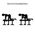 one arm dunbbell row exercise silhouette vector image vector image