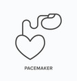 pacemaker flat line icon outline vector image vector image