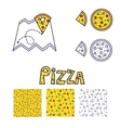 Pizza line icon and seamless pattern set vector image