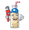 plumber sweet banana smoothie isolated on mascot vector image vector image