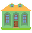 private house with a yellow roof and green walls vector image