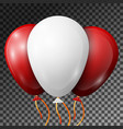 realistic white and red balloons with ribbons vector image