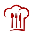 red icon with chef hat vector image vector image