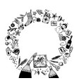 round frame christmas and new year elements vector image