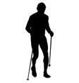 runner with trekking poles running vector image vector image