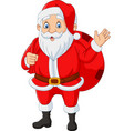 santa claus carrying a bag presents waving vector image vector image