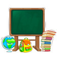 school board with book backpack and globe vector image vector image