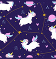 seamless pattern cute unicorn vector image vector image