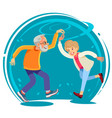 Senior couple dancing together flat style