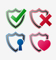 set security icon shield set vector image vector image