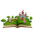 story book with cartoon princesses and princes in vector image
