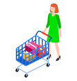 woman is rolling a shopping cart shopping concept vector image vector image