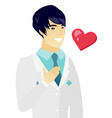 young asian doctor holding hand on his chest vector image vector image