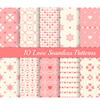 10 different seamless patterns Love collection vector image vector image