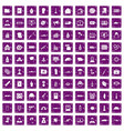 100 war icons set grunge purple vector image vector image