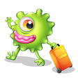 A one-eyed green monster moving vector image vector image