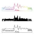 Aosta skyline linear style with rainbow vector image vector image