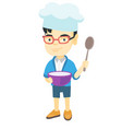 asian boy holding a saucepan and a spoon vector image