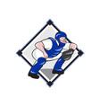 Baseball Catcher Catching Side Cartoon