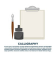 calligraphy workshop promotional poster with empty vector image