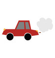 cartoon red-colored car emitting smoke or color vector image vector image