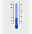 celsius and fahrenheit meteorology thermometers vector image vector image
