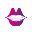color silhouette mouth with lipstick in the lips vector image