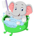 cute elephant bathing time cartoon vector image vector image