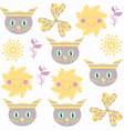 cute funny cats seamless pattern it is located in vector image vector image